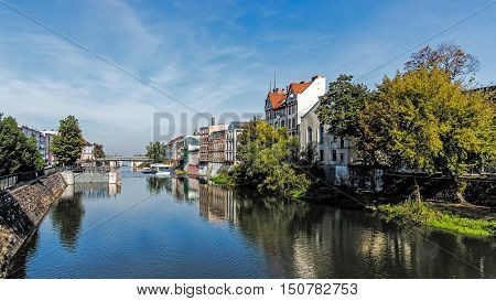 OPOLE POLAND - SEPTEMBER 25 2016: Cityscape of Opole one of the oldest towns in Poland dating back to the 9th century famous of The National Festival of Polish Song held annually since 1963.