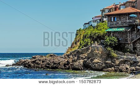 SOZOPOL, BULGARIA - JULY 20, 2016: View of Sozopol, one of the oldest Bulgarian towns founded in the 7th century BC, nowadays one of the major seaside resorts in the country.