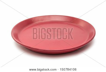 red plate kitchen flatware on a white background