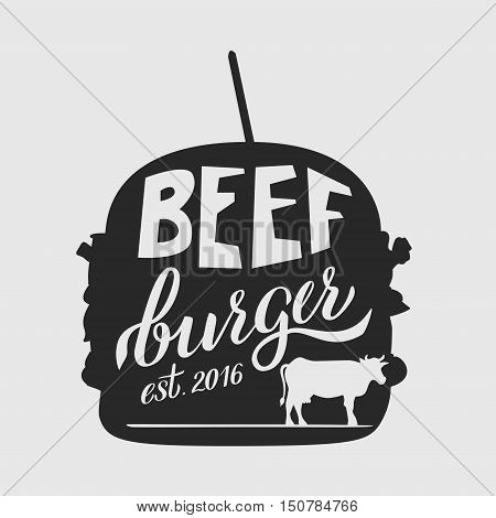 Fast food illustration and hand draw lettering in vector. Colorful, volume, and modern picture of burger concept with different taste.