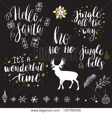 Christmas and New Year 2017 lettering and decorative elements collection. Vector illustration set for greeting cards, tags, posters, web and print.Deer, snowflakes, toys, bells and christmas quote set
