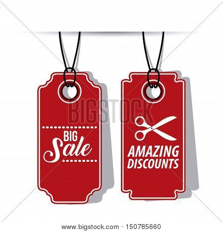 hanging red tag icon. Price offer discount and market design. Isolated design. Vector illustration