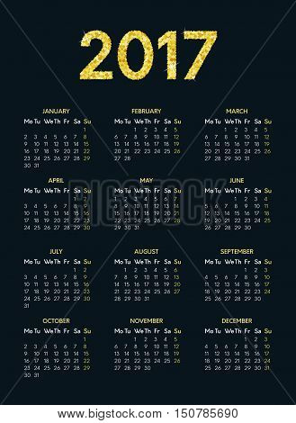 Vector calendar for 2017 year on dark background with gold glitter effect. Week starts on monday