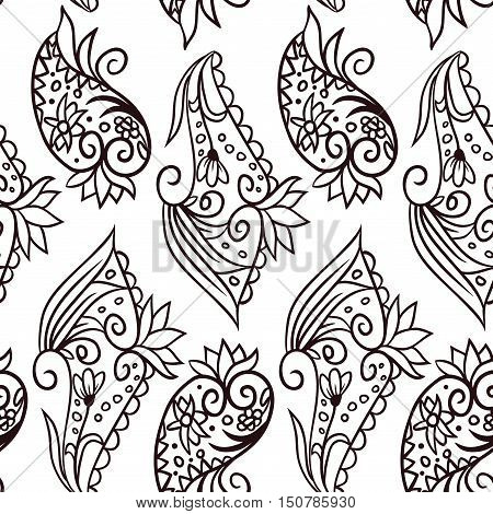 Vector monochrome seamless pattern with doodle floral hand drawn elements on white background