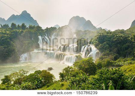 Stunning View At Detian Waterfall In Guangxi, China