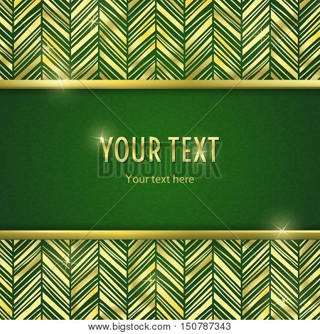 Vintage illustration with horizontal frame with gold border and gold zigzsg ornament on green background