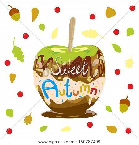 Colorful illustration of seasons theme. Sweet autumn concept. Modern and bright colors, flat design. Donut and candy for adverising, bakery, autumn sale. In vector