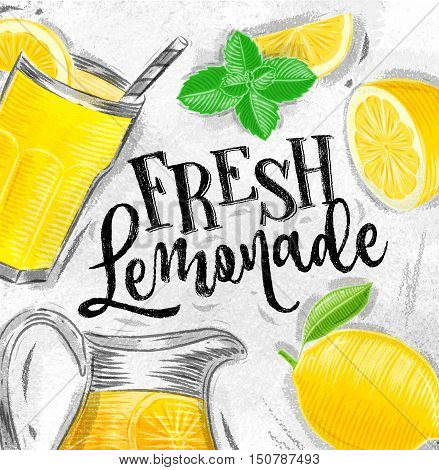 Poster with lemonade elements glass lemon jug mint fresh lettering fresh lemonade drawing on dirty paper background