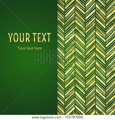 Vintage illustration with vertical frame and gold zigzag ornament on green background