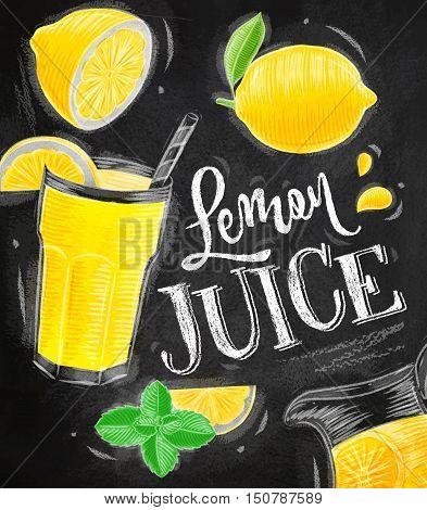 Poster with lemonade elements glass lemon jug mint lettering lemon juice drawing with chalk on chalkboard background