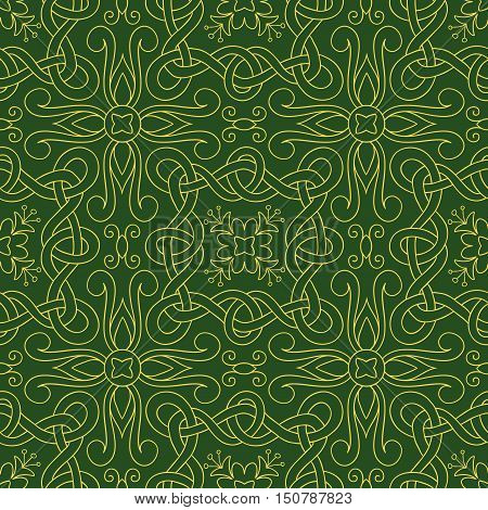 Vector seamless pattern of hand drawn yellow outlines interwoven ribbons and flowers on green background