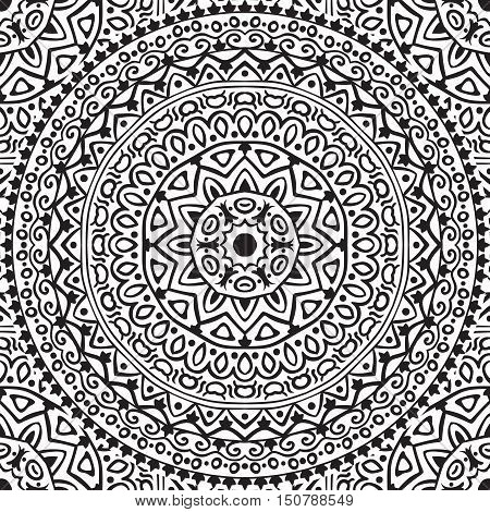 Vector seamless pattern with mandala. Abstract background with round monochrome ornament. Adult coloring book page
