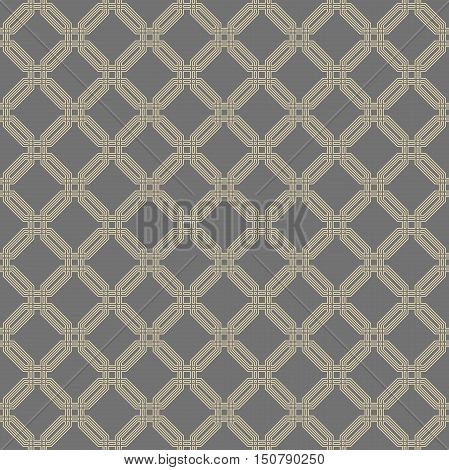 Geometric fine abstract octagonal background. Seamless modern pattern. Gray and golden pattern
