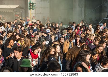 Students Protesting In Milan, Italy