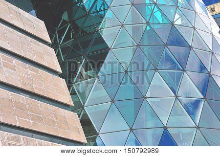 BAKU AZERBAIJAN - SEPTEMBER 25: Facade of Park bulvar mall in Baku on September 25 2016. Baku is a capital and largest city of Azerbaijan.