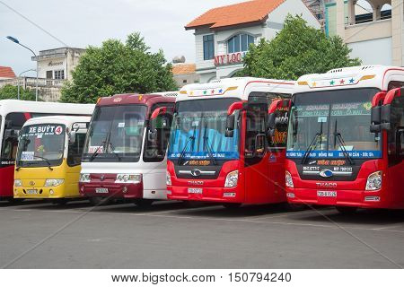 VUNG TAU, VIETNAM - DECEMBER 23 2015: Four long-distance bus at the bus station Vung Tau city.