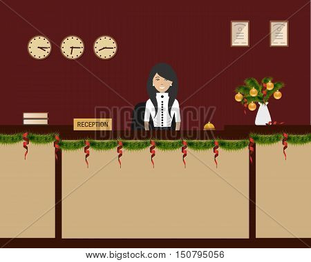 New Year in the hotel. Hotel reception with Christmas decoration. Young woman receptionist stands at reception desk. Travel, hotel booking concept. Vector illustration