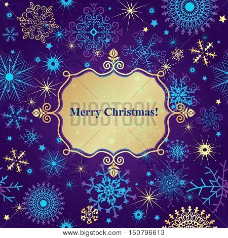 Christmas greeting card with lacy snowflakes and translucent gold label vector eps10 purple