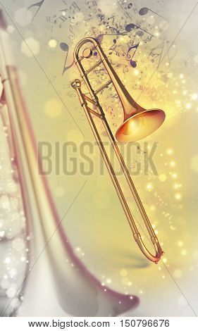 3d trombone brass orchestral instrument on shine music notes background