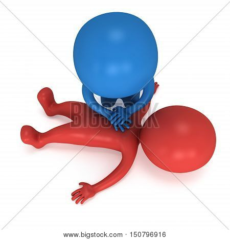 3d Man doing CPR First Aid. 3d render illustration CPR training concept on white background. Red and blue men