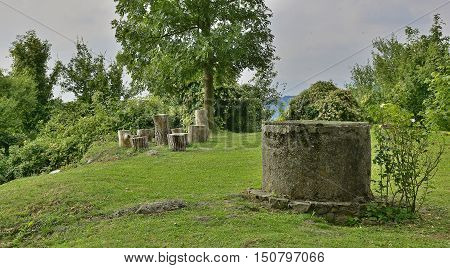 A disused well and some tree stumps in the small Italian hill village of pedrosa