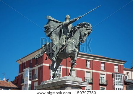 Ancient statue of medeival spanish soldier Rodrigo diaz de Vivar El Cid in Burgos Spain.