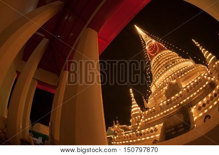 SAMUT PRAKAN,THAILAND- NOVEMBER 1,2015 :Phra Samut Chedi Festival is an important annual event in Samut PraKan is also resplendent during the fair with elaborate lights decorating the pagoda.Located Samut Prakan Province in Middle of Thailand.