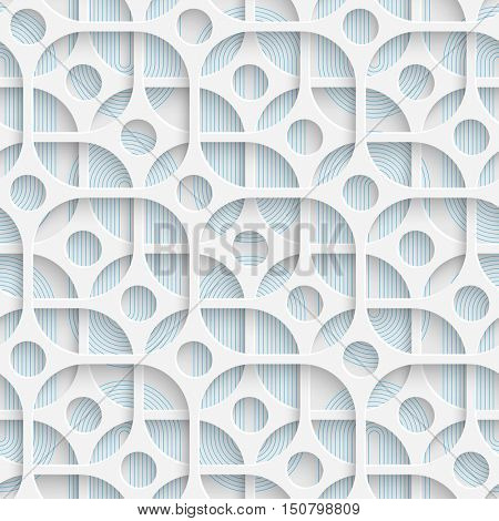 Seamless Circle and Square Design. Futuristic Tile Pattern. 3d Elegant Minimal Geometric Background. Abstract White and Blue Grid Wallpaper