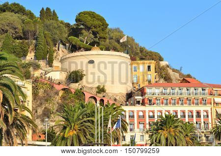 Nice France. View of the Chateau hill in a sunny summer evening