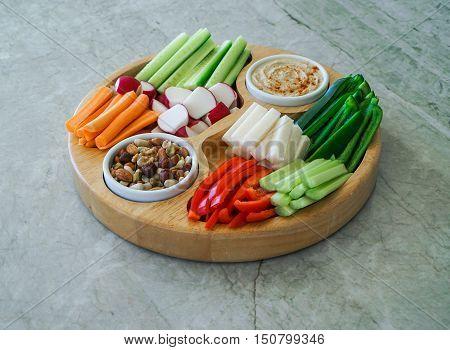 Vegetable Crudites and Dips/ vegetable vegan raw platter, healthy eating. Toning. Selective focus