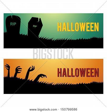 Halloween web banners and headers vector design