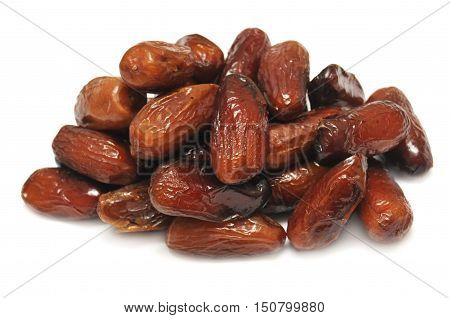 Dried dates isolated on white background. Food.