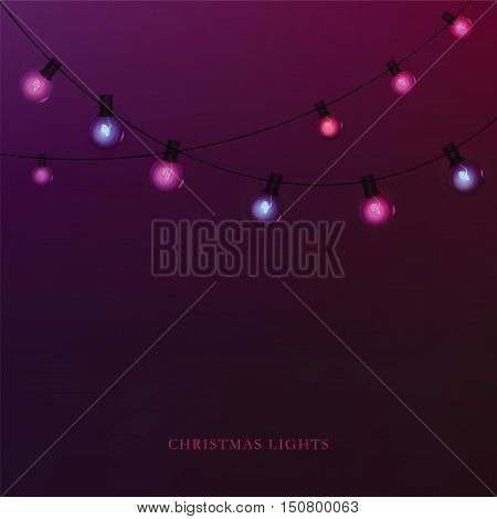 Glowing garland light bulbs for a holiday background. Vector illustration