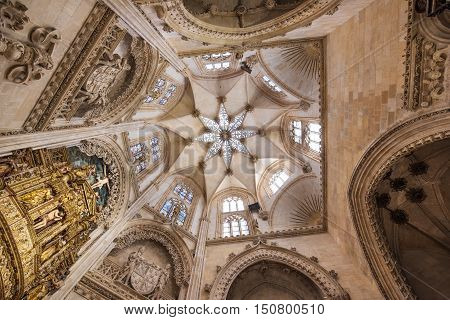 BURGOS SPAIN - SEPTEMBER 4: Interior of Famous Landmark gothic cathedral on a sunny day on September 4 2016 in Burgos Spain.