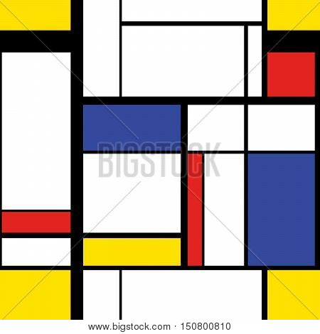 Abstract modern painting in mondrian style seamless pattern
