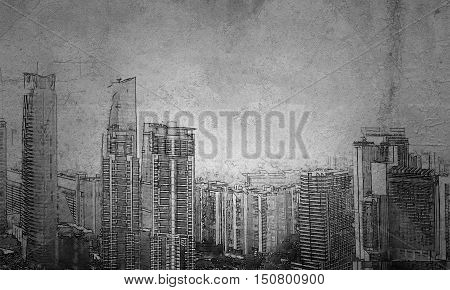 Architecture concept with city drawing over concrete room background