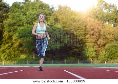 Female Athlete Training For A Race