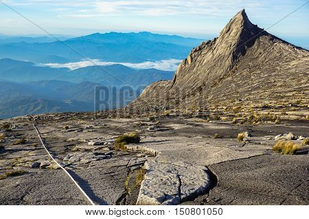 View from Low's Peak of mountain Kinabalu,Sabah.Its the highest mountain in Malaysia is one of Borneo's most popular tourist attractions & traditional home to spirits.