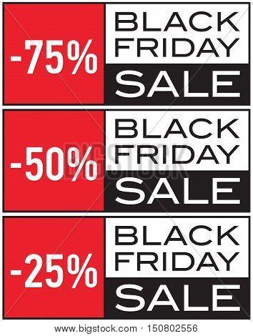 Black Friday Sale, -25%, -50%, -75%, seasonal sale, vector design