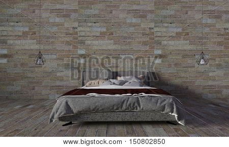 Modern bedroom and loft style with retro brick wall background and copyspace.interior 3D rendering image