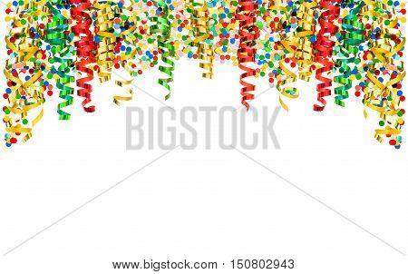 Colorful streamer and confetti on white background. Holidays border with carnival party serpentine decoration