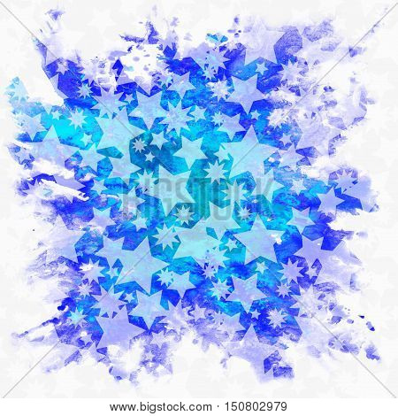 Christmas Holiday Pattern, Stars Blue and White Silhouettes on Hand-Draw Watercolor Painting Background