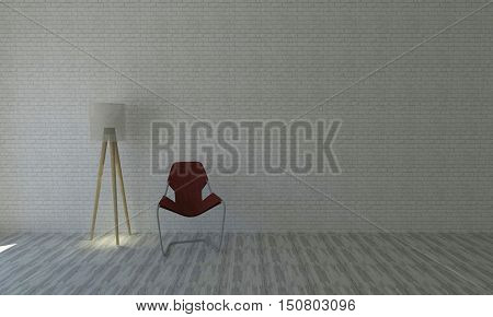 The modern red chair and lamp with retro white brick wall background and copyspace of Living.interior 3D rendering image
