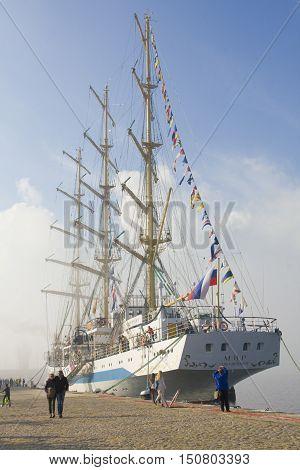 VARNA BULGARIA - OCTOBER 1 2016: opening of Black Sea Tall Ships Regatta Russian sailing ship