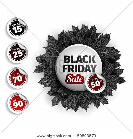 3d black friday sale tag design. Black realistic autumn leaves. Vector illustration. EPS 10 vector, Black friday discount, advertising. Food, cars, Clothes sale. Autumn sale.