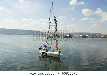 VARNA BULGARIA - OCTOBER 1 2016: opening of Black Sea Tall Ships Regatta sailing ships and yachts of different countries arrive in port of town Varna.