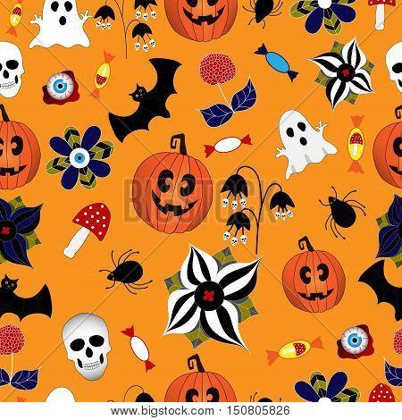 Halloween pattern with hand drawn elements: web, leaves, pumpkin, skull, bat, spider, ghost, mushroom on orange