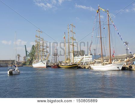 VARNA BULGARIA - OCTOBER 1 2016: opening of Black Sea Tall Ships Regatta sailing ships of different countries arrive in port of town Varna.