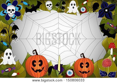 Halloween. Background with hand drawn elements: web, leaves, pumpkin, skull, bat, spider, ghost, mushroom and others.