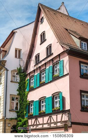 Bamberg Germany - May 22 2016: Facades of historical houses in Bamberg Bavaria Germany Europe. The historic city center is a listed UNESCO world heritage site.